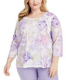 Plus Size Nantucket Printed Lace-Trim Top