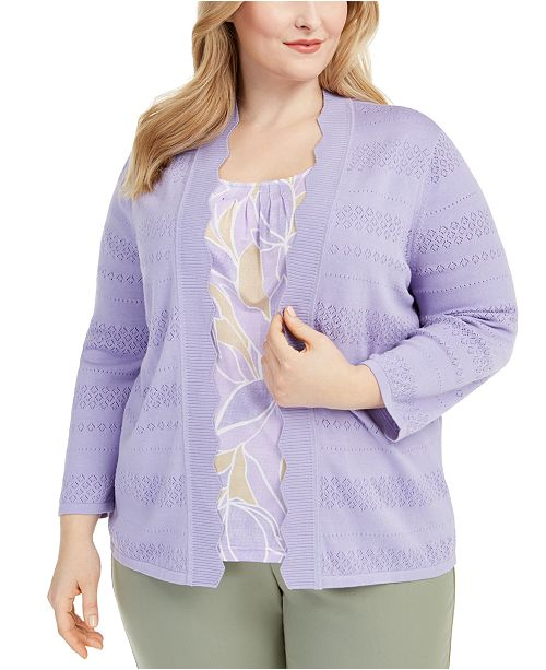 Alfred Dunner Plus Size Nantucket Botanical-Print Top and Sweater
