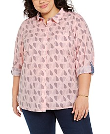 Plus Size Polka Dot Heart Print Cotton Shirt