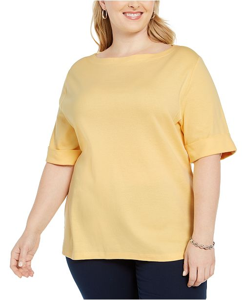 Karen Scott Plus Size Cotton T-Shirt, Created for Macy's