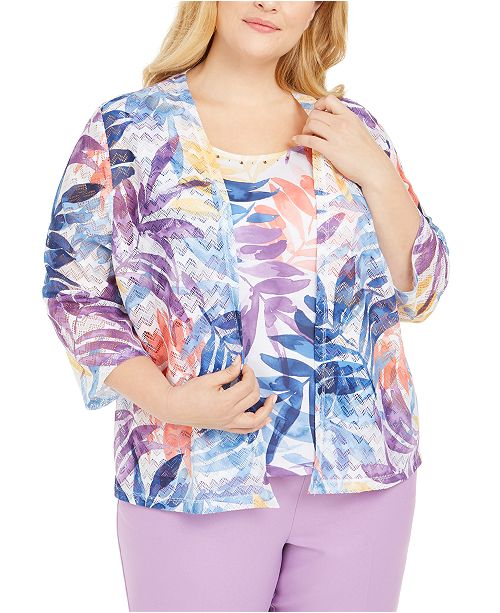 Alfred Dunner Plus Size Layered-Look Top