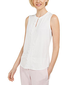 Kasper Sleeveless Scallop Front Blouse