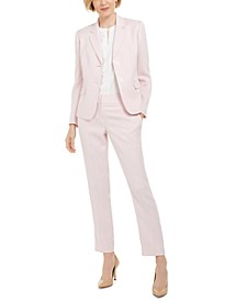 Herringbone Two-Button Blazer, Scallop-Front Blouse and Trouser Pant
