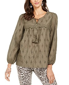Printed Tasseled Blouse, Created for Macy's