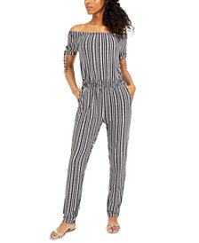 Planet Gold Juniors' Striped Off-The-Shoulder Jumpsuit