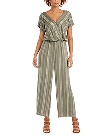 Striped V-Neck Jumpsuit, Created for Macy's