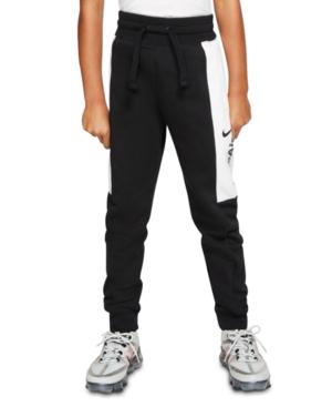 Nike Kids' Big Boys Colorblocked Fleece Jogger Pants In Black/white