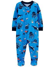 Baby Boys 1-Pc. Ocean-Print Footed Pajamas