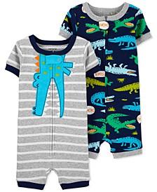 Baby Boys 2-Pk. Cotton Alligator Romper Pajamas