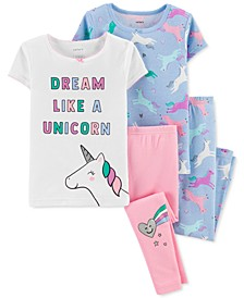 Baby Girls 4-Pc. Unicorn Cotton Pajamas Set