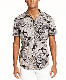 INC Men's Colored Dark Floral Pattern Short Sleeve Shirt, Created for Macy's