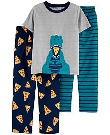 Little & Big Boys 3-Pc. Hungry Dinosaur Pajamas Set