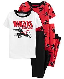 Little & Big Boys 4-Pc. Ninjas Cotton Pajamas Set
