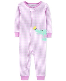 Baby Girls 1-Pc. Gingham-Print Alligator Cotton Pajamas