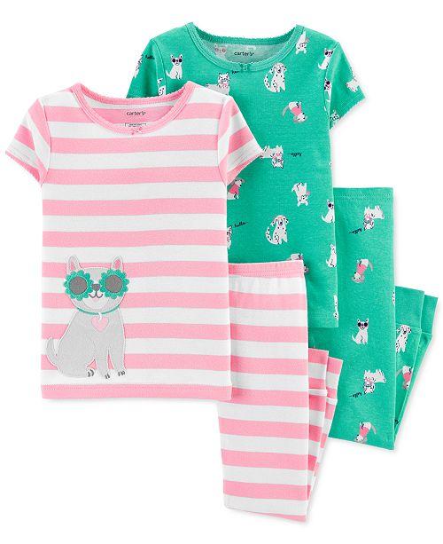 Carter's Toddler Girls 4-Pc. Cotton Dog Pajamas Set