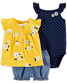 Baby Girls 3-Pc. Cotton Shirt, Bodysuit & Bubble Shorts Set