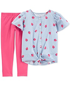 Little & Big Girls 2-Pc. Striped Strawberry Top & Leggings Set