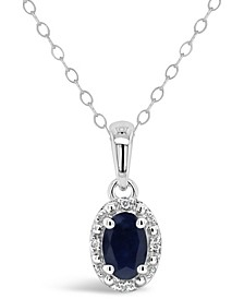 Sapphire (5/8 ct. t.w.) and Diamond Accent Pendant Necklace in Sterling Silver