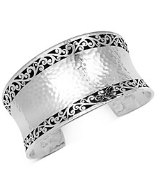 Filigree Concave Hammered Cuff Bracelet in Sterling Silver
