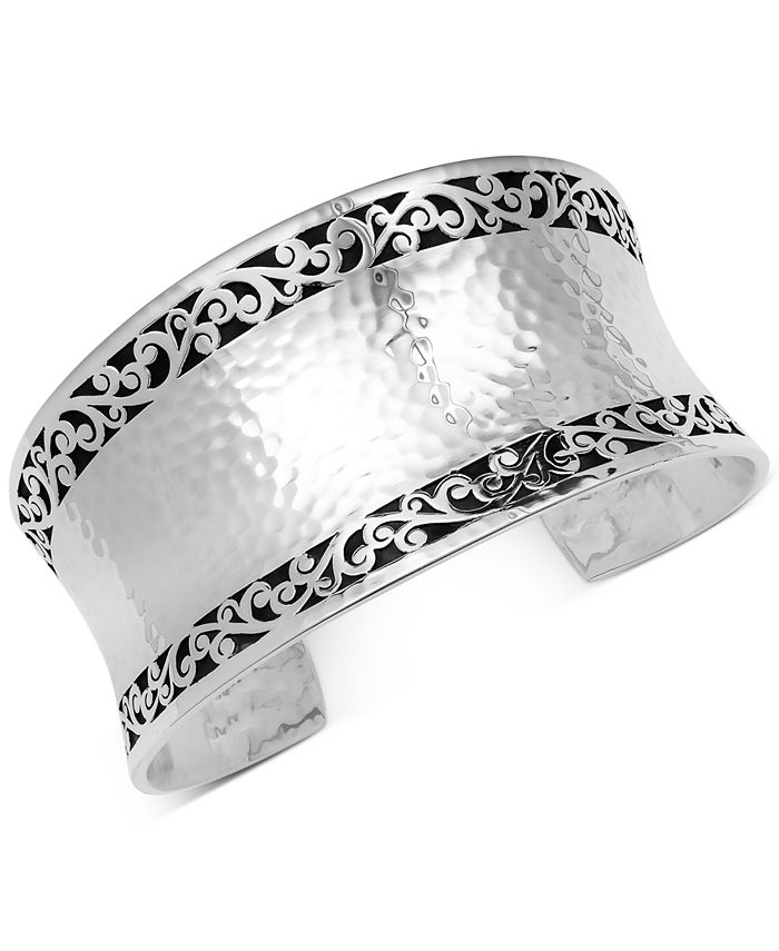 Lois Hill - Filigree Concave Hammered Cuff Bracelet in Sterling Silver