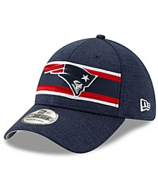New England Patriots Striped Front Tech 39THIRTY Stretch Fitted Cap