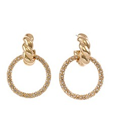 Gold Tone Twisted Top Drop Earrings with Pave Ring