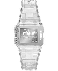 Men's Digital Chopped Clear Polyurethane Strap Watch 38x33mm