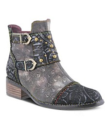 Women's Nailhead Embossed Floral Toe Cap Booties