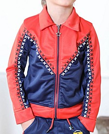 Toddler and Little Boys Red and Navy Tricot Track Jacket