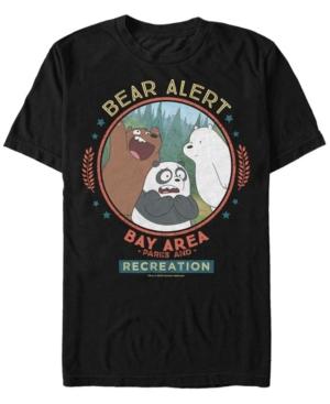 Fifth Sun Men's We Bare Bears Bay Area Bear Alert Circle Short Sleeve T- Shirt In Black