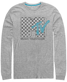 Men's Distressed Retro Checkered Logo Long Sleeve T- shirt