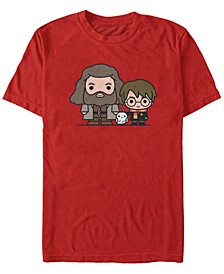 Harry Potter Men's Hagrid Hedwig and Harry Chibi Short Sleeve T-Shirt