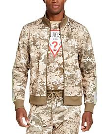 Men's Athletic-Fit Fleece Camo Track Jacket