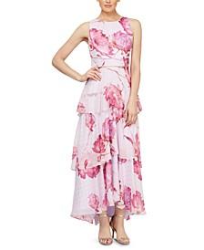 Tiered Floral-Print Maxi Dress