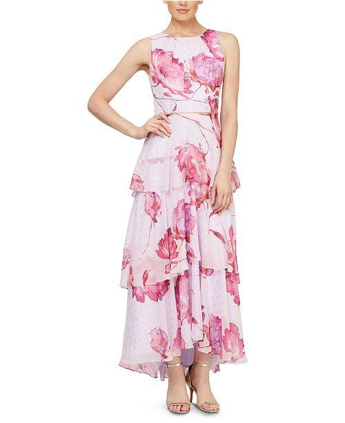 SL Fashions Tiered Floral-Print Maxi Dress