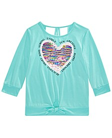 Big Girls Flip Sequin Heart Top