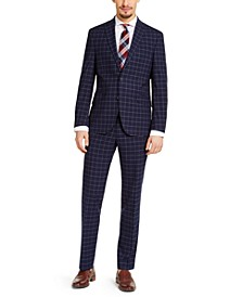 Men's Slim-Fit Techni-Cole Stretch Navy Windowpane Suit, Created for Macy's