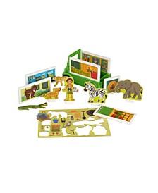 Melissa Doug 39-Piece MAGNETIVITY Magnetic Building Play Set – Safari Rescue Truck Vehicle 6 Panels, 28 Accessory Magnets