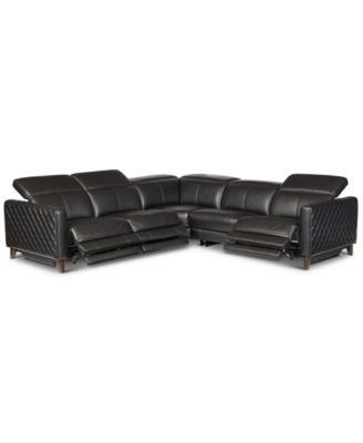 Jaconna 5-Pc. Leather Sectional with 3 Power Recliners, Created for Macy's