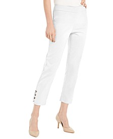 Petite Tummy Control Hardware-Trim Ankle Pants