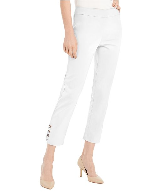 JM Collection Petite Tummy Control Hardware-Trim Ankle Pants