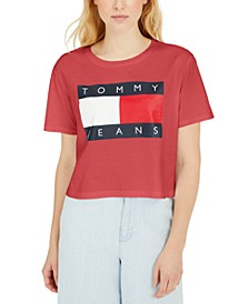 Cropped Cotton Flag Logo T-Shirt