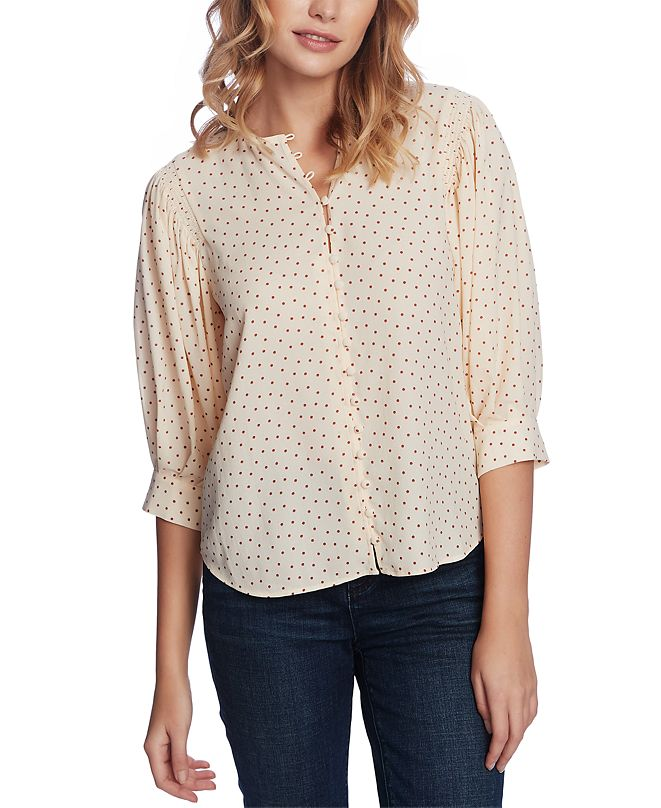 1.STATE Dotted Blouson-Sleeve Top