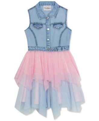 Big Girls Denim & Glitter Mesh Dress