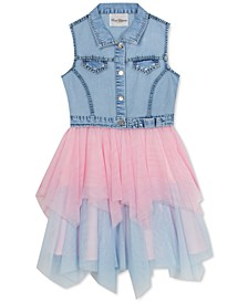 Big Girls Denim & Glitter Mesh Dress