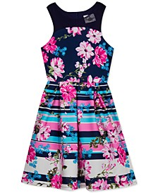 Big Girls Plus Size Flowers & Stripes Illusion Dress