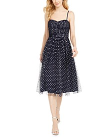 Sweetheart Shimmer Dot Midi Dress