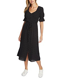 Scattered Dot Puff-Sleeve Midi Dress