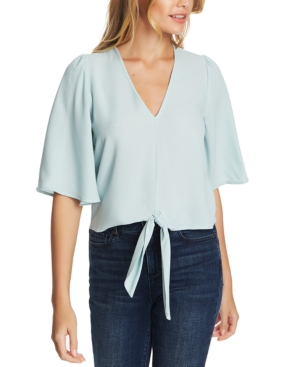 1.state Flounce-sleeve Tie-front Top In Dusty Mint