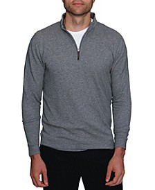 Men's Twill Knit Cotton Quarter-Zip Pullover